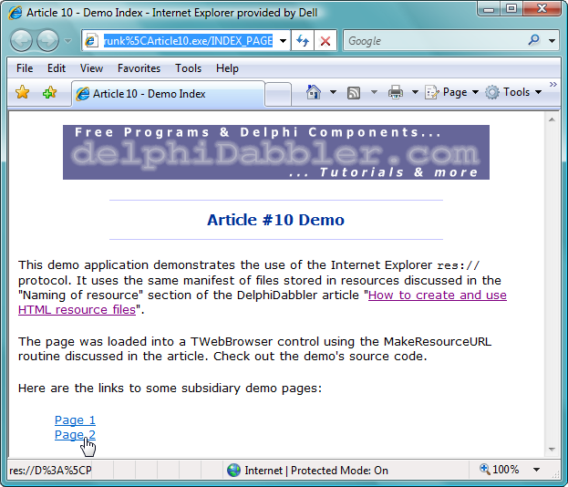IE showing a HTML resource from the demo program